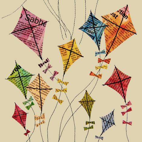 newsprint_kites_cream fabric by peppermintpatty on Spoonflower - custom fabric