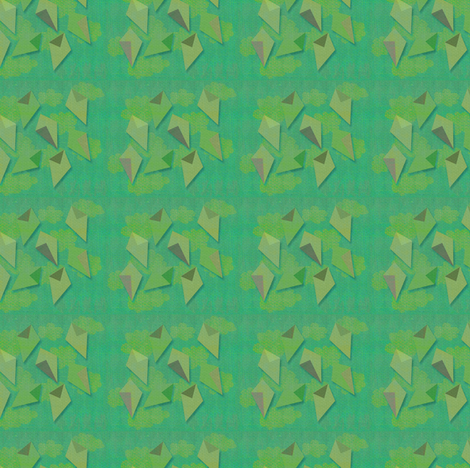 Green kites fly high fabric by meredithjean on Spoonflower - custom fabric