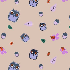little owls with flowers