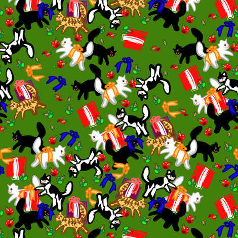 Meowy Christmas fabric by eclectic_house on Spoonflower - custom fabric