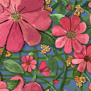 Floral Vines - Pink