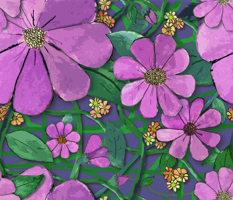 Floral Vines - Purple fabric by engravogirl on Spoonflower - custom fabric
