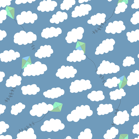 Kites and clouds fabric by jeannemcgee on Spoonflower - custom fabric