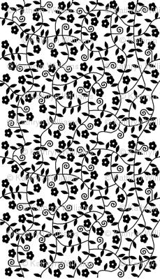 Black White Flower Design Fabric Squeakyangel Spoonflower