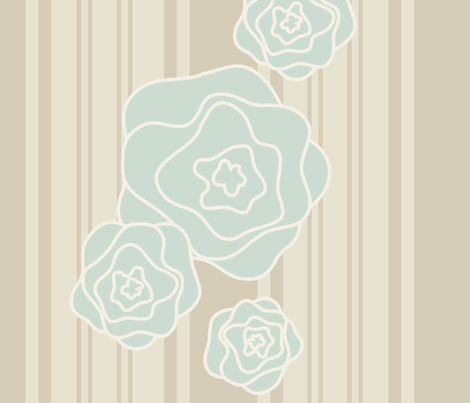 Ticking Rosettes in Aqua & Linen fabric by katphillipsdesigns on Spoonflower - custom fabric