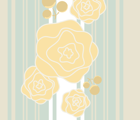 Ticking_Rosettes_yellow fabric by katphillipsdesigns on Spoonflower - custom fabric