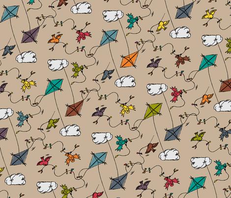 Drachenflug - kite flight fabric by annosch on Spoonflower - custom fabric