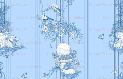 My Garden Toile Stripe Large Blue ©2011 by Jane Walker