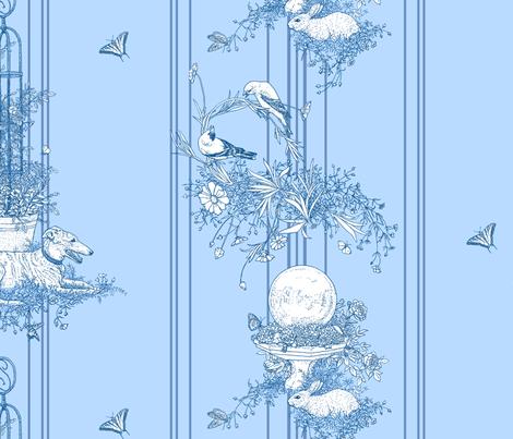 My Garden Toile Stripe Large Blue ©2011 by Jane Walker fabric by artbyjanewalker on Spoonflower - custom fabric