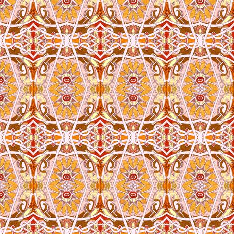 Happy Orange Art Deco Flowers fabric by edsel2084 on Spoonflower - custom fabric