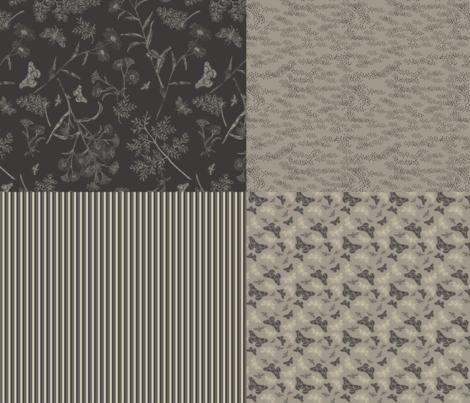 4in1 Garden at Night coordinates fabric by natasha_k_ on Spoonflower - custom fabric