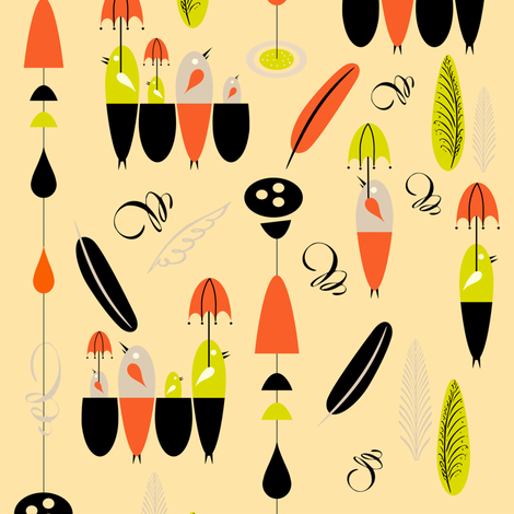It's Raining Birds fabric by chickoteria on Spoonflower - custom fabric