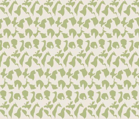 MINI_SILHOUETTES_GREEN fabric by natasha_k_ on Spoonflower - custom fabric