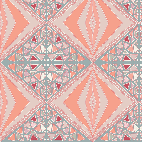 Peach and gray diamonds fabric by su_g on Spoonflower - custom fabric