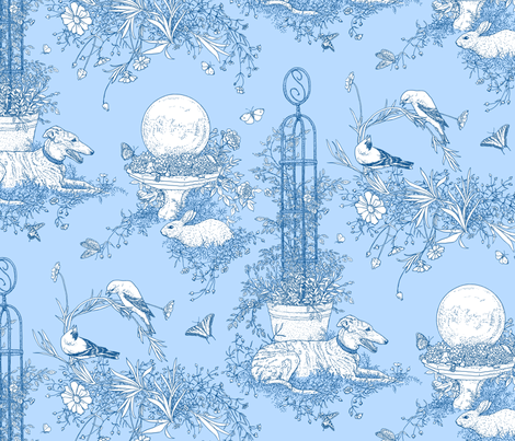 My Garden Toile Main Large Blue ©2011 by Jane Walker fabric by artbyjanewalker on Spoonflower - custom fabric