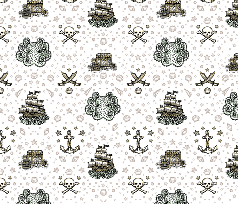 White Pirate Print fabric by teja_jamilla on Spoonflower - custom fabric