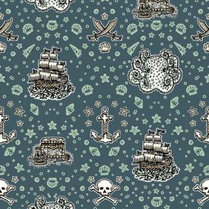 Marine Blue Pirate Print