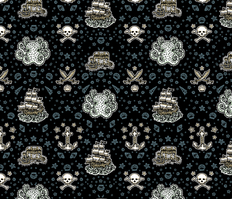 Black Pirate Print fabric by teja_jamilla on Spoonflower - custom fabric