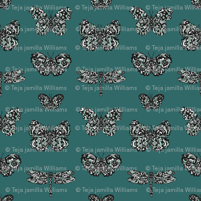 Art Nouveau Butterflies Blue