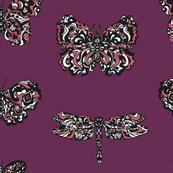 Art Nouveau Butterflies Purple