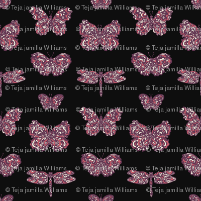 Art Nouveau Butterflies Charcoal, Purple and Pink