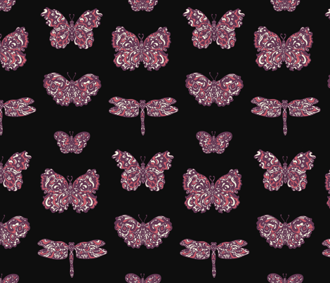 Art Nouveau Butterflies Charcoal, Purple and Pink fabric by teja_jamilla on Spoonflower - custom fabric