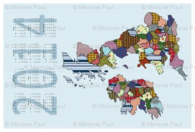 UK Ireland Tea Towel Calendar 2014 Blue