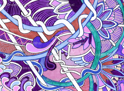 Purple, Violet, Lavender, and Teal Tangles