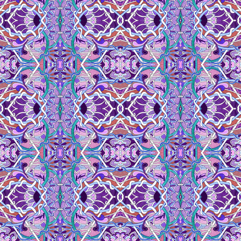 Purple, Violet, Lavender, and Teal Tangles fabric by edsel2084 on Spoonflower - custom fabric