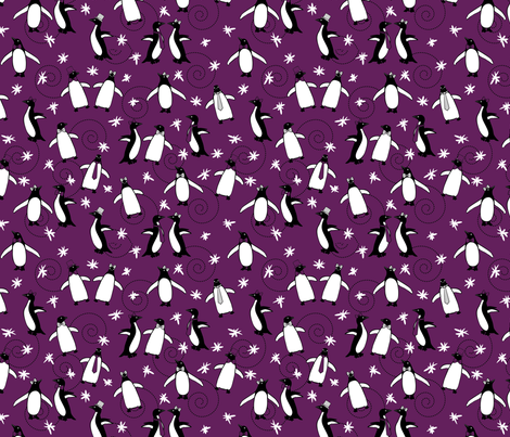 Penguins Puttin' On The Ritz (Purple) fabric by robyriker on Spoonflower - custom fabric