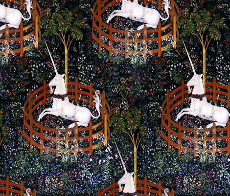 The Unicorn is in Captivity and No Longer Dead ~ Medium fabric by peacoquettedesigns on Spoonflower - custom fabric