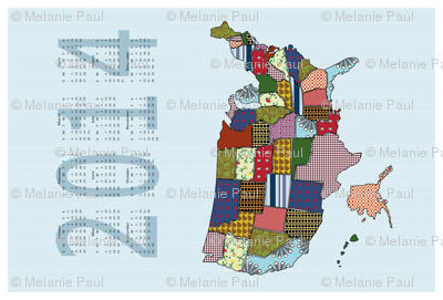 USA States 2014 Calendar Tea Towel - Light blue