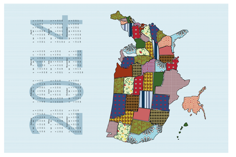USA States 2014 Calendar Tea Towel - Light blue  fabric by madex on Spoonflower - custom fabric