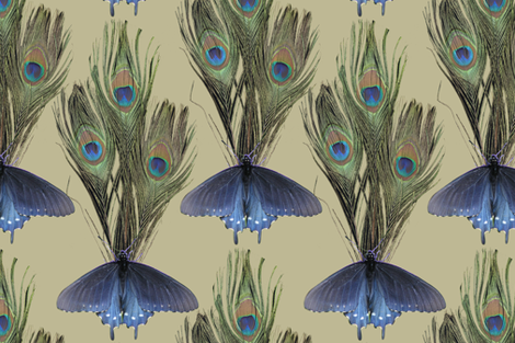 Peacock Feather Butterfly Art Nouveau fabric1 - LT-OLIVE fabric by mina on Spoonflower - custom fabric