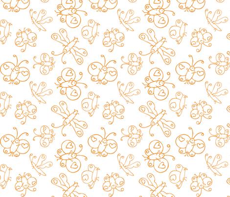 Happy Butterflies Orange fabric by samvanvoorst on Spoonflower - custom fabric