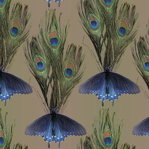 Peacock Feather Butterfly Art-Nouveau-fabric1-2-MEDTAUPE