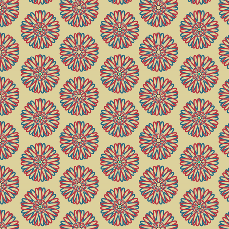 Flower with Turqoiuse Centre fabric by david_kent_collections on Spoonflower - custom fabric
