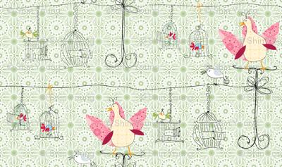 Birdcages in green