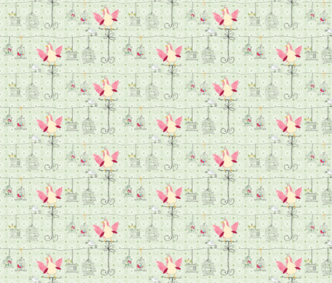 Birdcages in green fabric by shiny on Spoonflower - custom fabric