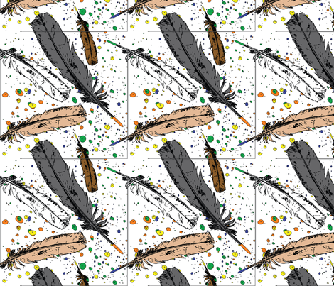 Feather Pens fabric by franny711 on Spoonflower - custom fabric