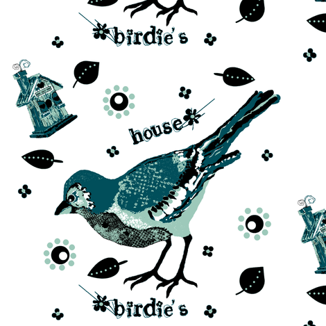 birdie's house teal fabric by paragonstudios on Spoonflower - custom fabric
