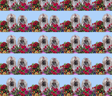 two_lhasas in_flowersjpg fabric by dogdaze_ on Spoonflower - custom fabric