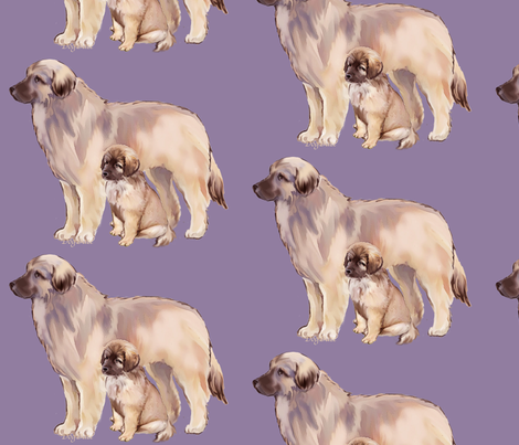 Leonberger Mother And Puppy fabric by dogdaze_ on Spoonflower - custom fabric