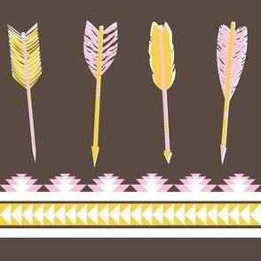 aztec arrows - dark brown, pink & yellow