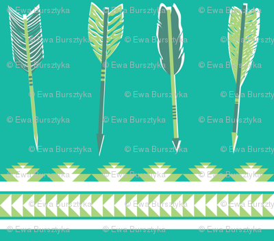 aztec arrows - teal & green