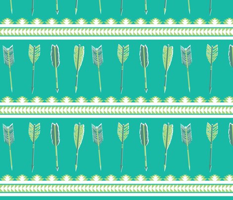 aztec arrows - teal & green fabric by ravynka on Spoonflower - custom fabric