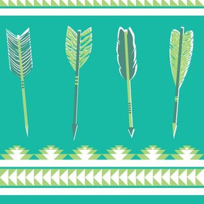 aztec arrows - teal & green