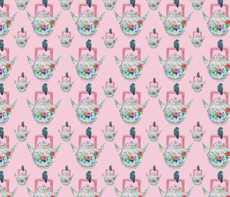 Mom's Bluebird and Teapot pink fabric by karenharveycox on Spoonflower - custom fabric