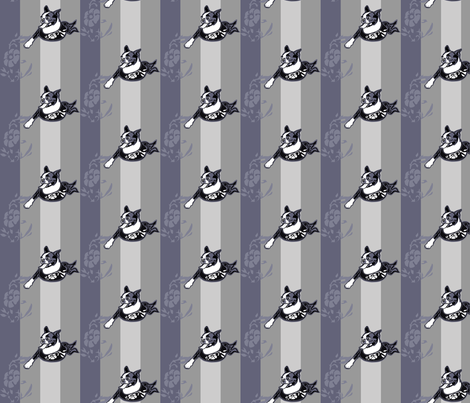 Excited Boston Terrier bust against tonal stripes fabric by woebegoneart on Spoonflower - custom fabric