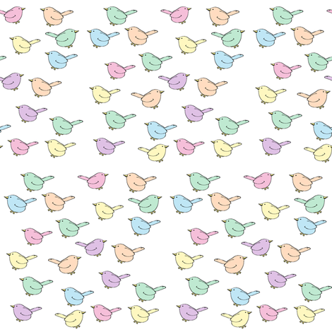 Pastel Birdies fabric by topfrog56 on Spoonflower - custom fabric